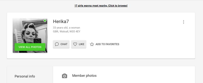 perfil de mulher WantMatures