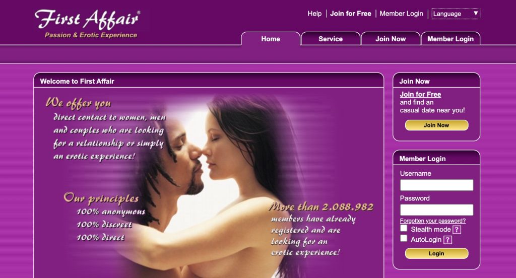 FirstAffair main page