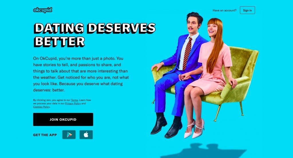 Página principal de OkCupid