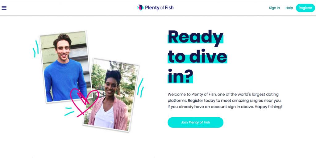 Página principal de PlentyOfFish