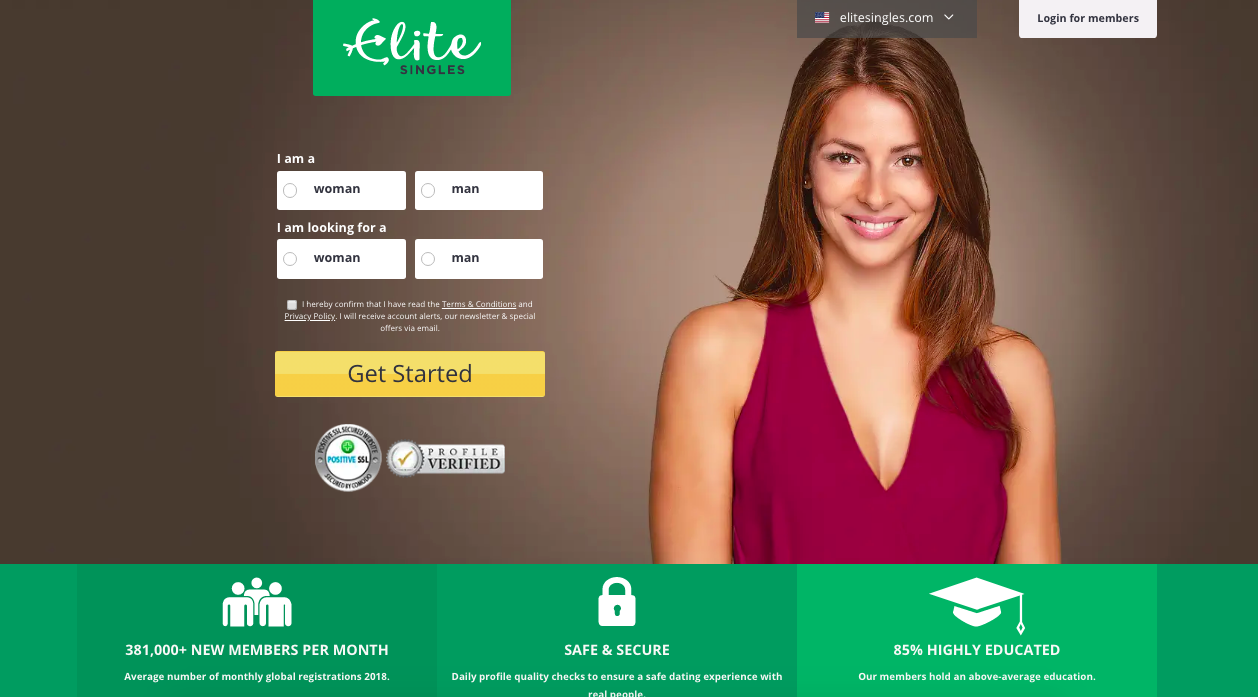 page principale EliteSingles