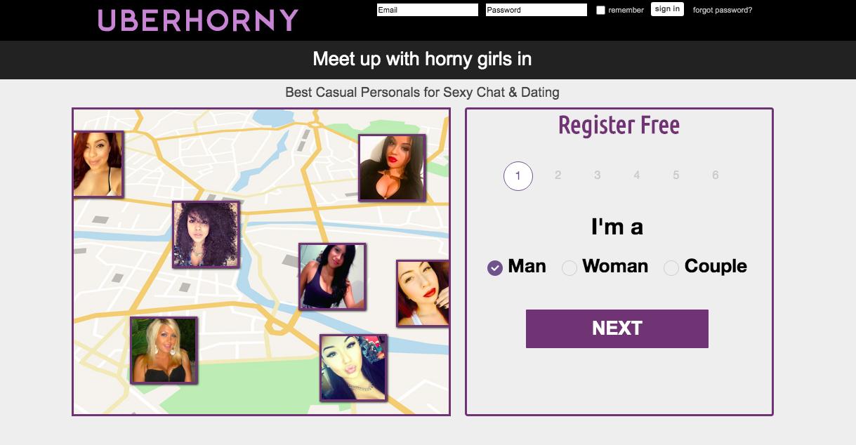 UberHorny.com main page