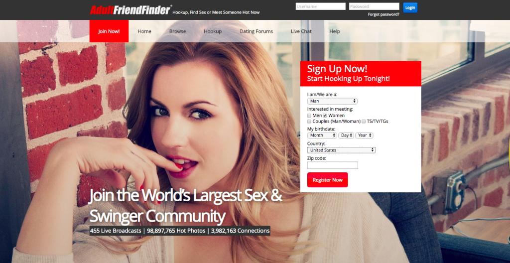 huvudsidan AdultFriendFinder