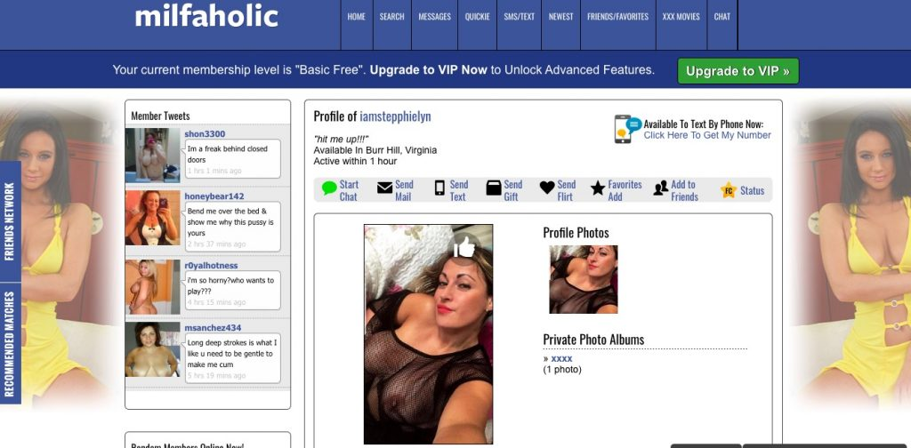 Milfaholic woman profile
