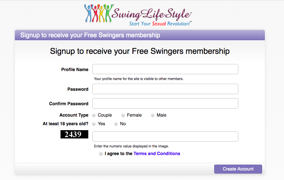 create account SwingLifestyle