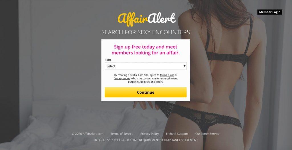 AffairAlert main page