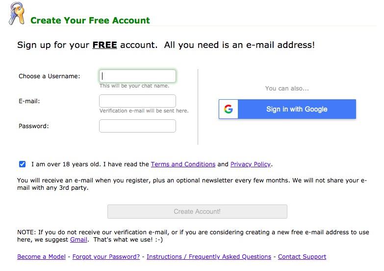 MyFreeCams create account