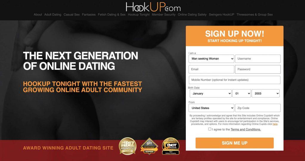 Hookup.Com huvudsida