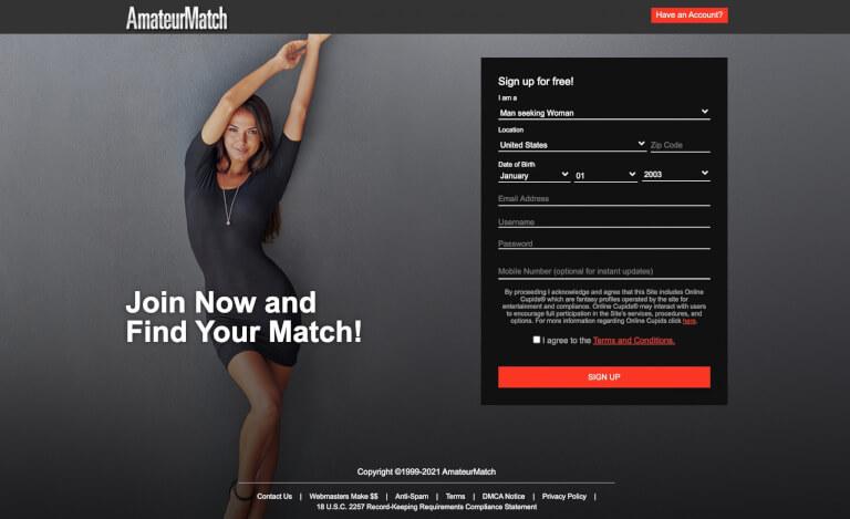 AmateurMatch huvudsida